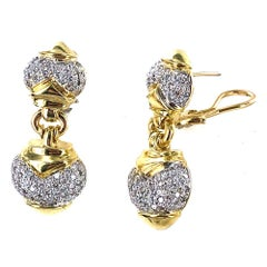 Pave Diamond 18 Karat Two-Tone Gold Drop Earrings