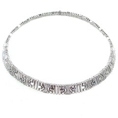 Bvlgari Parentesi Diamond 18 Karat White Gold Link Necklace