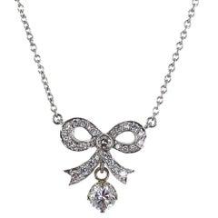 Diamond 18 Karat White Gold Bow Drop Pendant Necklace