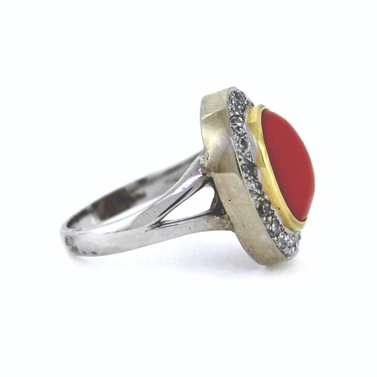 Red Coral Diamond Gold Ring In Excellent Condition For Sale In Scottsdale, AZ