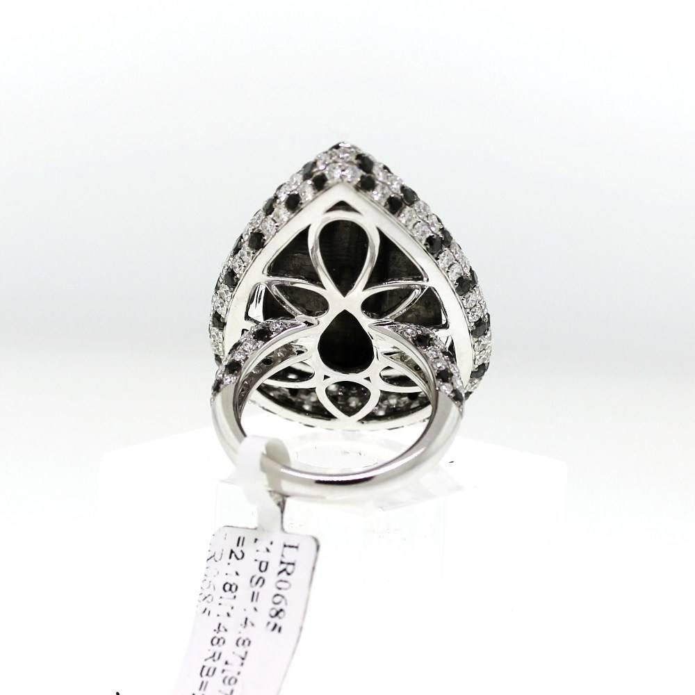 Black Diamond Gold Pear Shaped Ring For Sale at 1stdibs