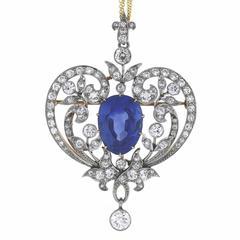 Marcus & Co. 15 Carat No Heat Burma Sapphire Old European Diamond Brooch