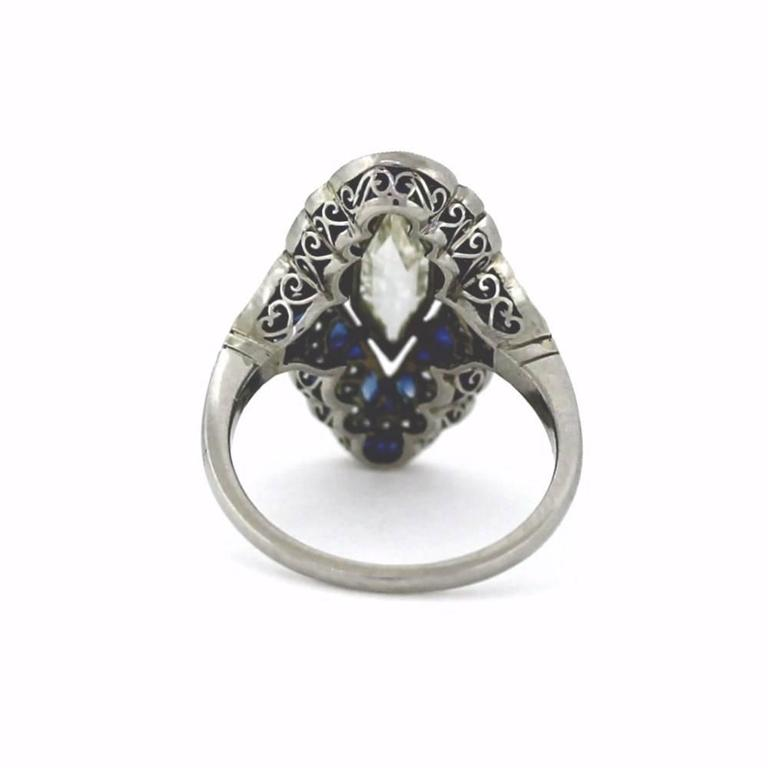 Art Deco Fancy Kite Sapphire Diamond Platinum Ring For Sale