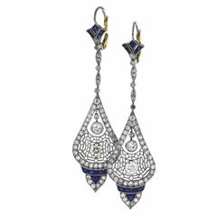 Gorgeous Sapphire Diamond Platinum Drop Earrings