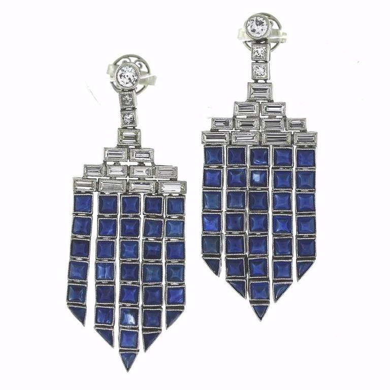 Sapphire Baguette Diamond Platinum Chandelier Earrings