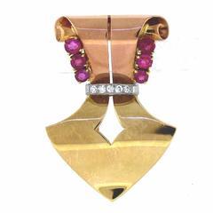 1940s Tiffany & Co. Ruby Diamond Gold Clip Brooch