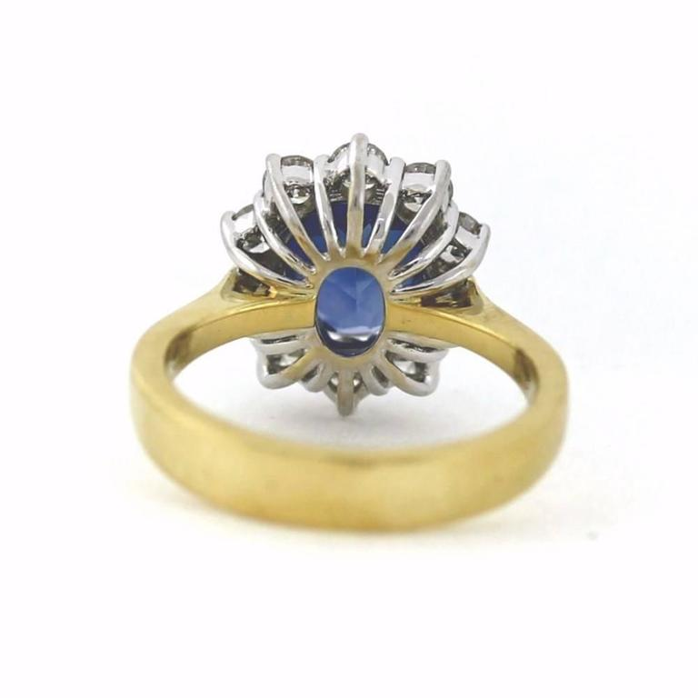 2.50 Carat Sapphire Diamond Gold Mini Princess Diana Ring In Excellent Condition For Sale In Scottsdale, AZ