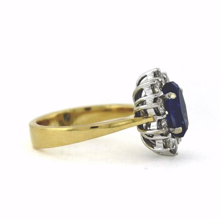 2.50 Carat Sapphire Diamond Gold Mini Princess Diana Ring 2
