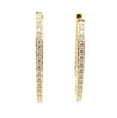 Estate 18 Karat Yellow Gold Round Diamond in and Out Oval Hoop Earrings