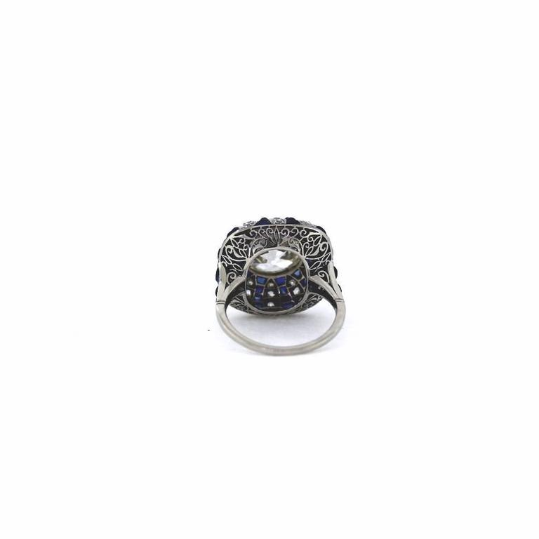 Art Deco Style 5.70 Carat GIA Cert Old European Cut Diamond Sapphire Ring In Excellent Condition For Sale In Scottsdale, AZ