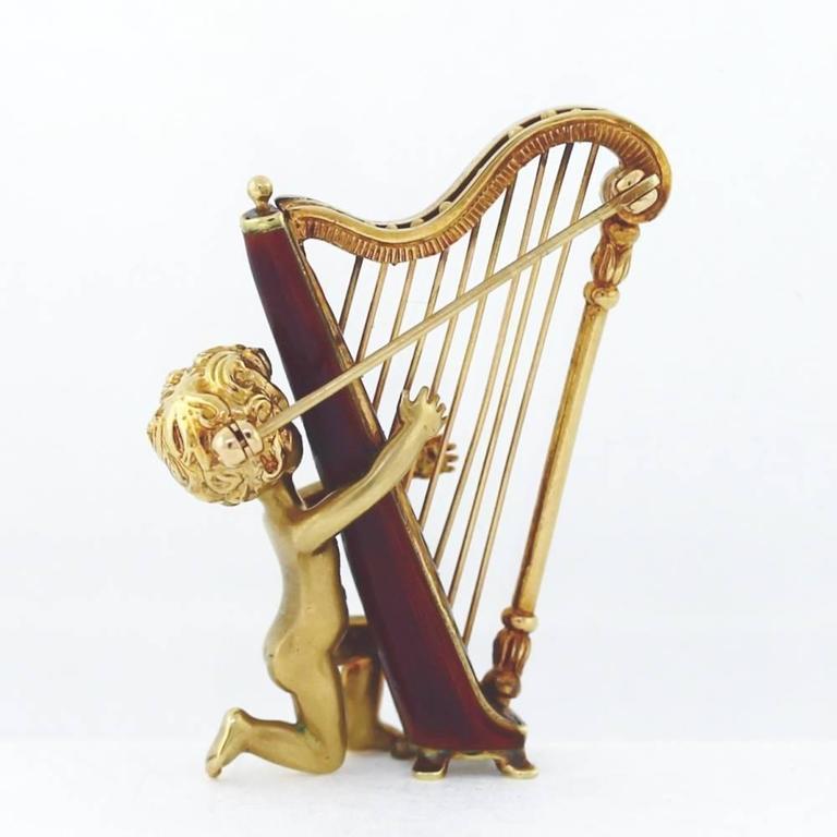 ruser diamond gold angel harp pin for sale at 1stdibs