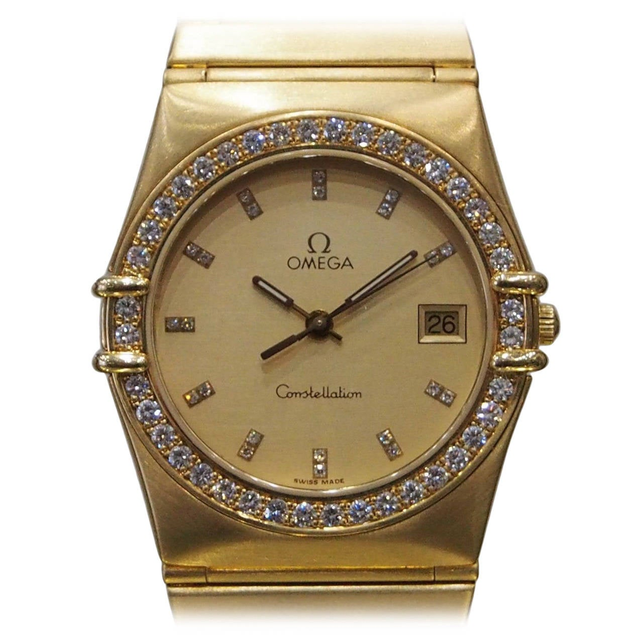 Omega Yellow Gold Diamond Constellation Quartz Wristwatch