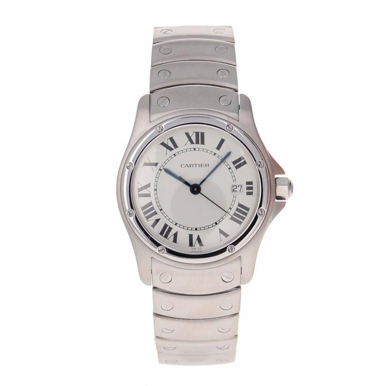 Cartier Ladies Stainless Steel Santos Ronde Quartz Wristwatch Ref 1561-1