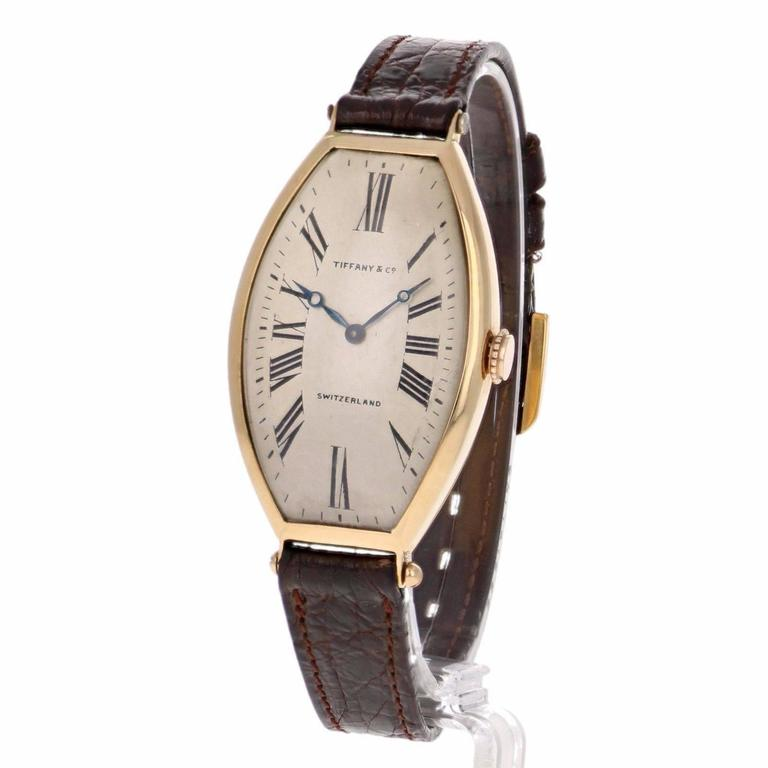 Tiffany & Co. Yellow gold Agassiz Tonneau Mechanical Wristwatch For Sale 1