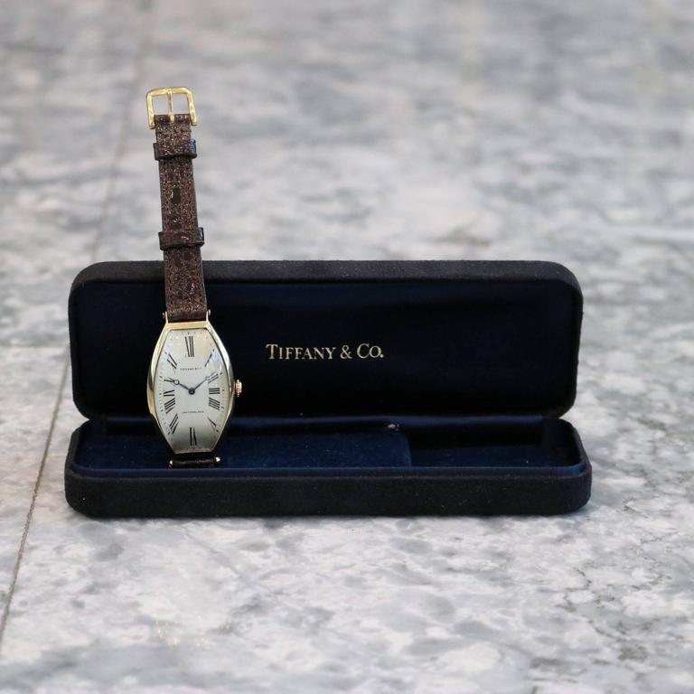 Tiffany & Co. Yellow gold Agassiz Tonneau Mechanical Wristwatch For Sale 2