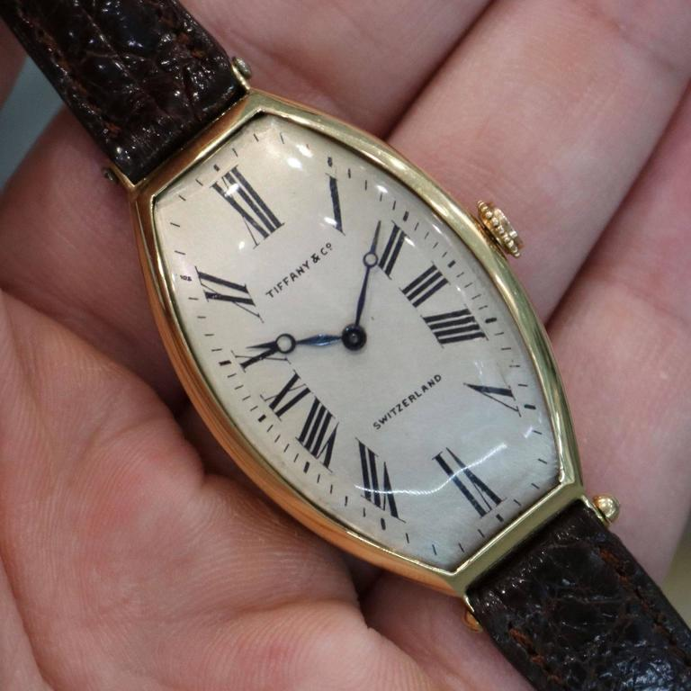 Tiffany & Co. Yellow gold Agassiz Tonneau Mechanical Wristwatch For Sale 4