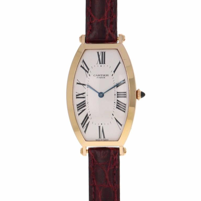 Cartier Yellow Gold Privee Collection Tonneau Mechanical Wristwatch Ref 2458C