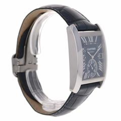 Cartier Stainless Steel Tank MC Blue Dial Automatic Wristwatch