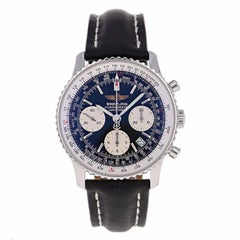 Breitling Navitimer Stainless Steel Black Leather Strap Automatic Wristwatch