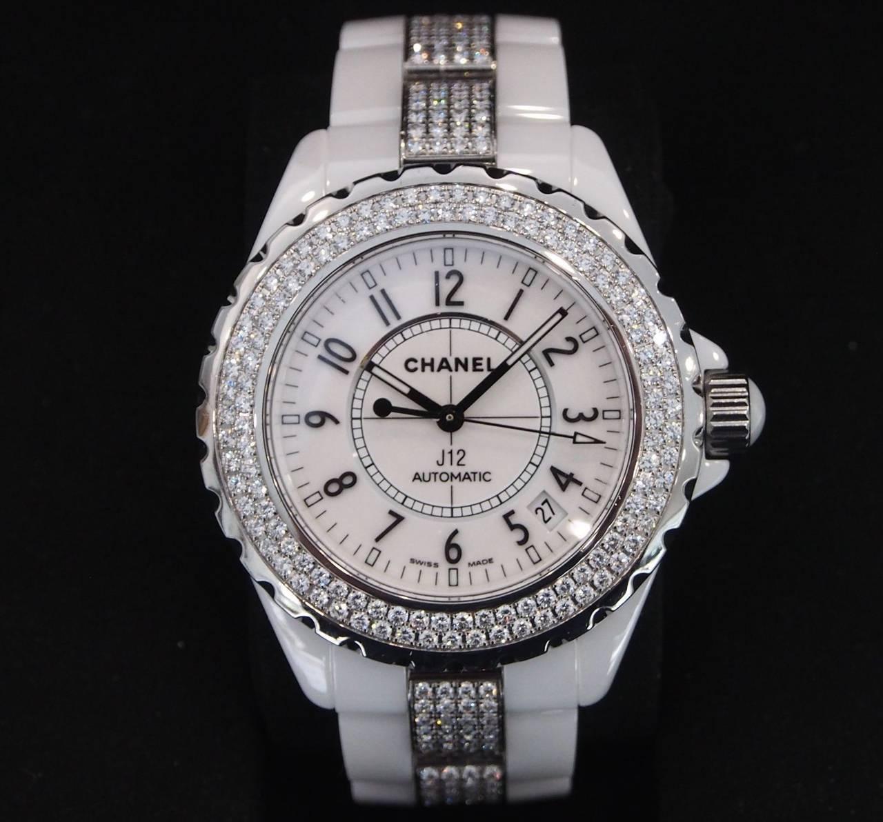 6f68dac5fcc CHANEL--- J12 38mm White Ceramic w  Diamond Bezel and Bracelet H1422 at  1stdibs