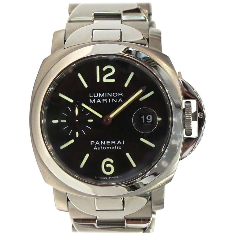 Panerai Stainless Steel Luminor Marina Wristwatch with Bracelet PAM 220 For  Sale 63c37832d65a