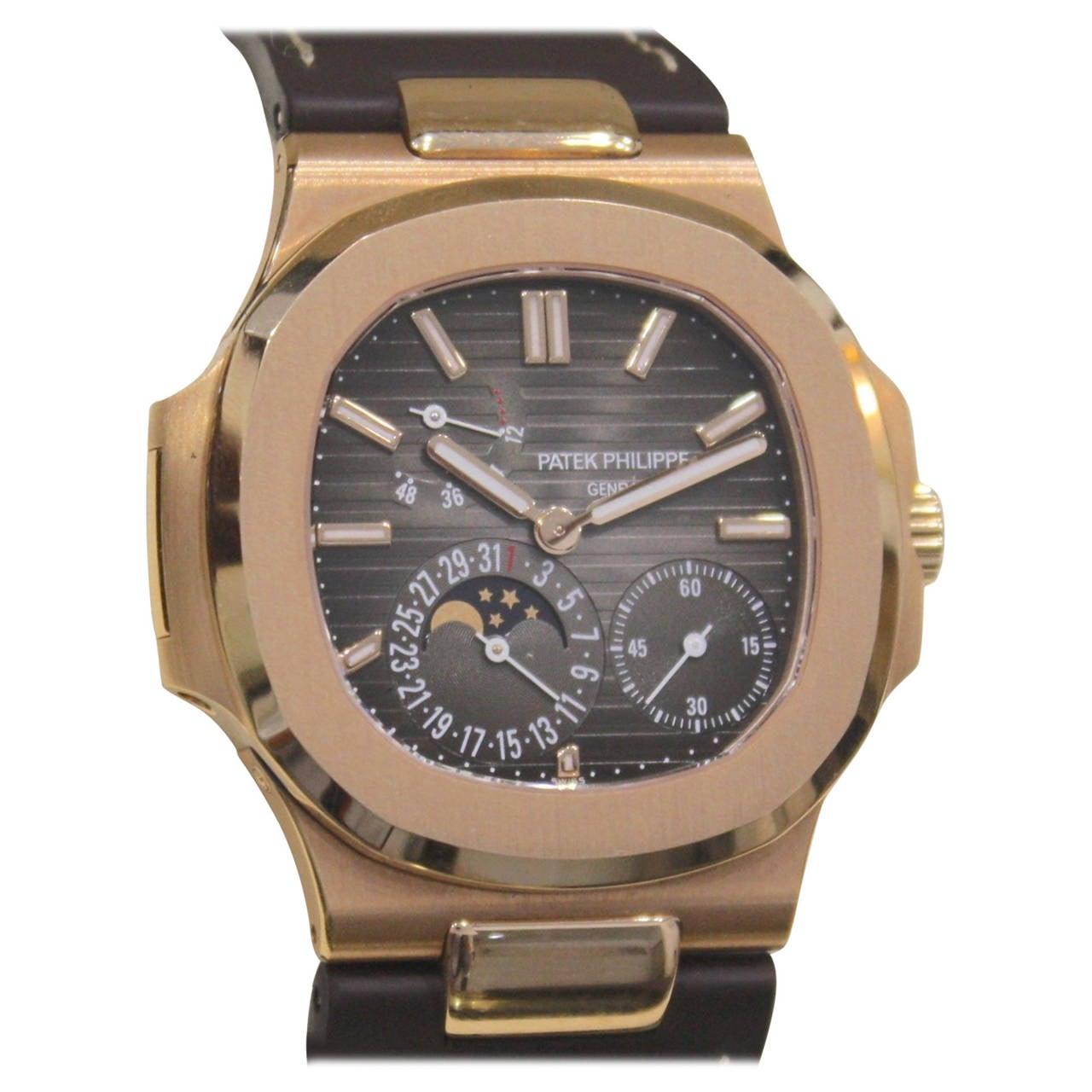 Patek Philippe Rose Gold Nautilus Automatic Wristwatch Ref ...