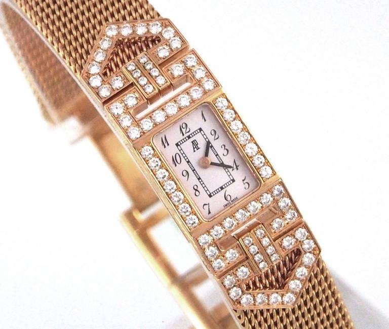Audemars Piguet Lady's Charleston Yellow Gold and Diamond Bracelet Watch 2