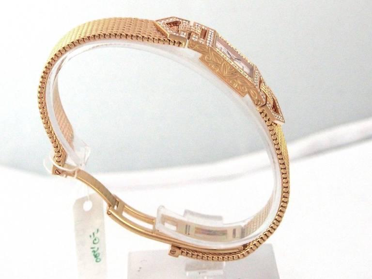 Audemars Piguet Lady's Charleston Yellow Gold and Diamond Bracelet Watch 10