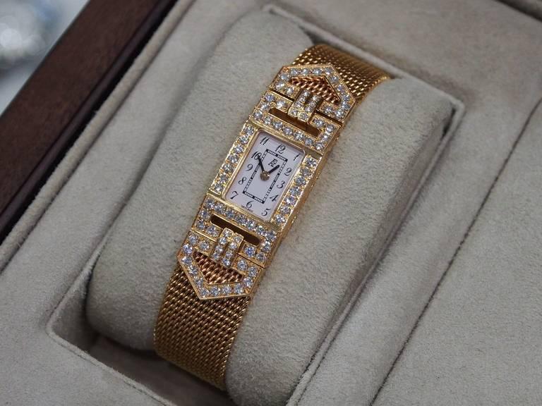 Audemars Piguet Lady's Charleston Yellow Gold and Diamond Bracelet Watch 3