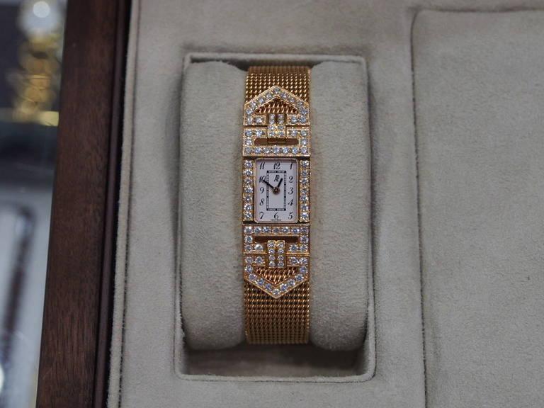 Audemars Piguet Lady's Charleston Yellow Gold and Diamond Bracelet Watch 4
