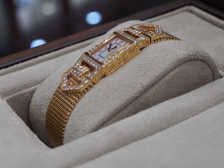 Audemars Piguet Lady's Charleston Yellow Gold and Diamond Bracelet Watch 6