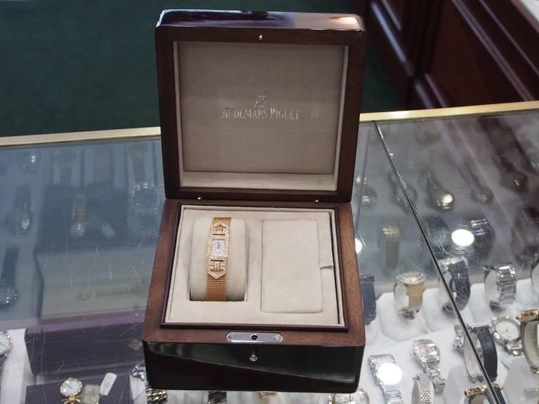 Audemars Piguet Lady's Charleston Yellow Gold and Diamond Bracelet Watch 7