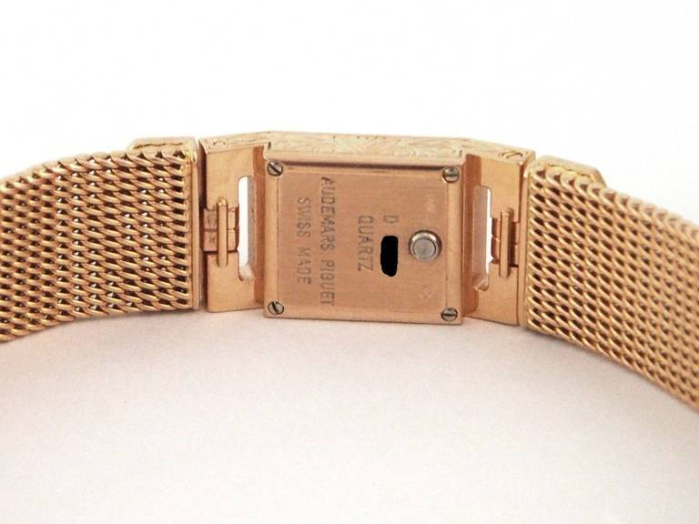 Audemars Piguet Lady's Charleston Yellow Gold and Diamond Bracelet Watch 8
