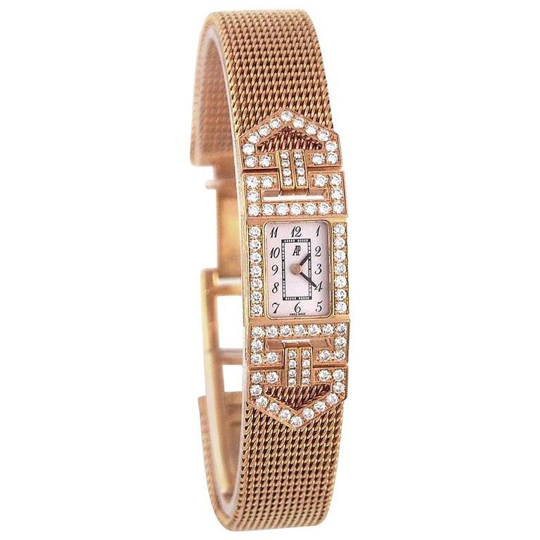 Audemars Piguet Lady's Charleston Yellow Gold and Diamond Bracelet Watch 1