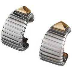 Bulgari Parentesi Stainless Steel and Yellow Gold Earrings