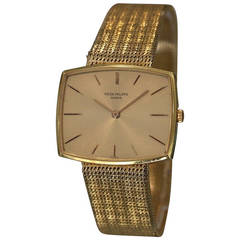 Patek Philippe Yellow Gold Cushion Bracelet Manual Wristwatch Ref 3527