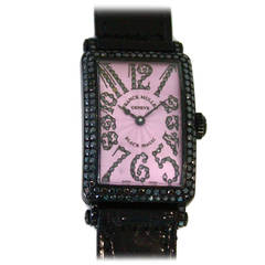 "Franck Muller White Gold Diamond Long Island ""Black Magic"" Quartz Wristwatch"