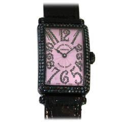 "Franck Muller White Gold Diamond Long Island ""Black Magic"" Quartz Wristwatch"