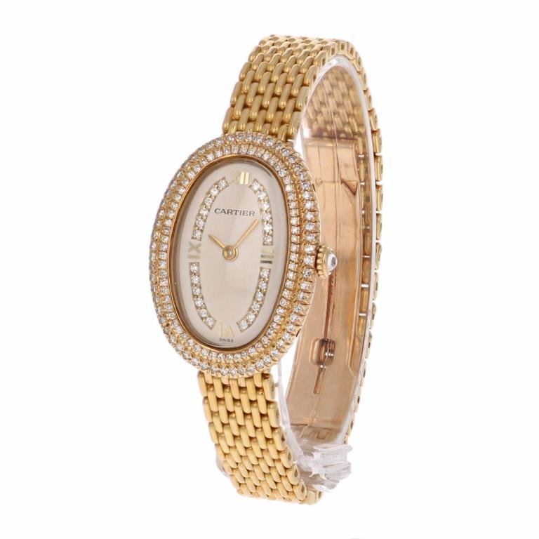 Cartier Ladies Yellow Gold Diamonds Baignoire Grain De Riz Mechanical Wristwatch 2