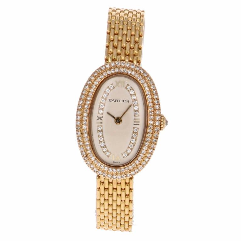 Cartier Ladies Yellow Gold Diamonds Baignoire Grain De Riz Mechanical Wristwatch 3