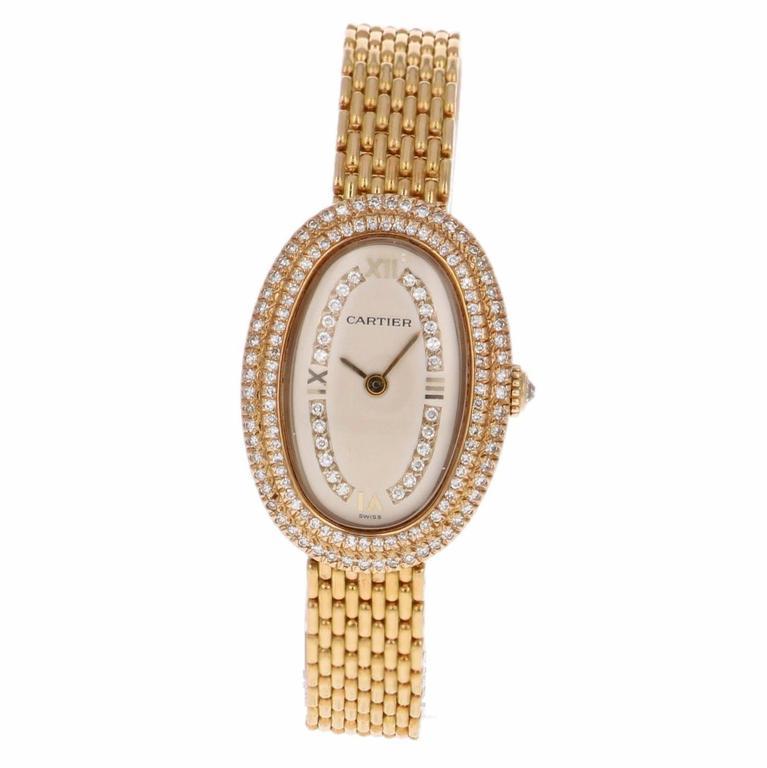 Cartier Ladies Yellow Gold Diamonds Baignoire Grain De Riz Wristwatch 3