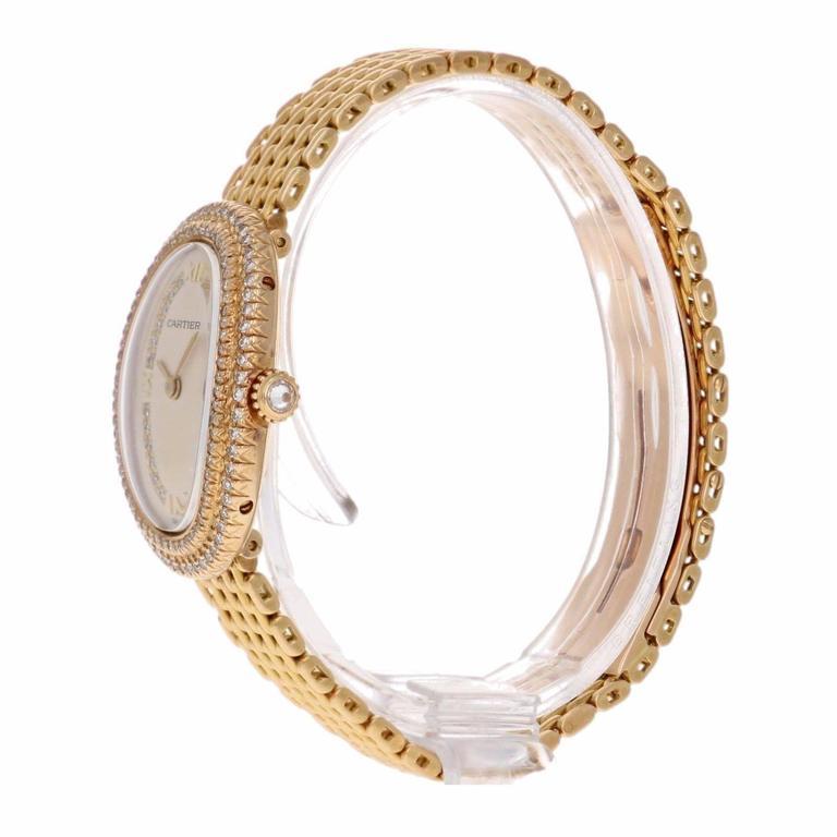 Cartier Ladies Yellow Gold Diamonds Baignoire Grain De Riz Wristwatch 4