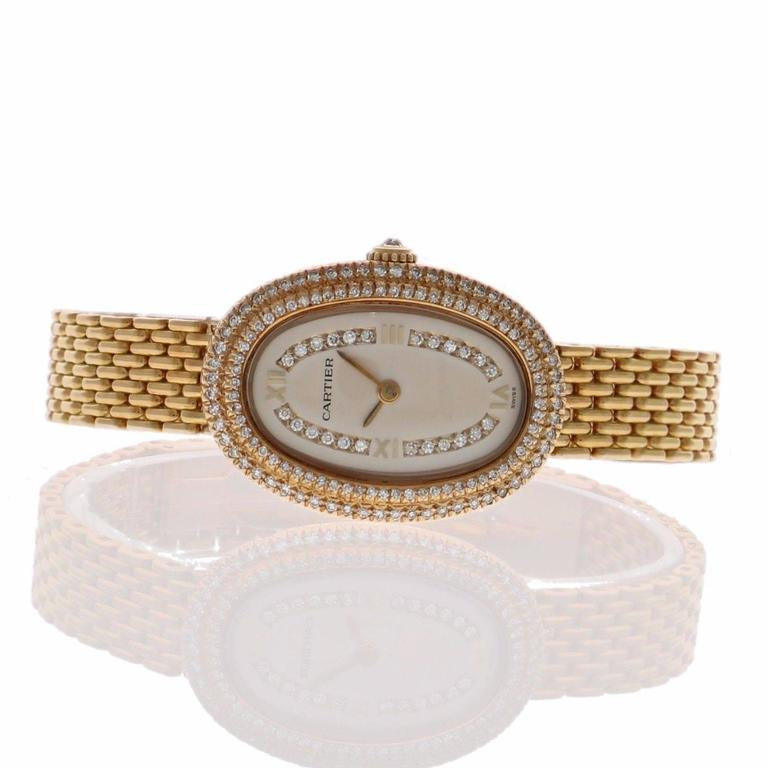 Cartier Ladies Yellow Gold Diamonds Baignoire Grain De Riz Mechanical Wristwatch 5