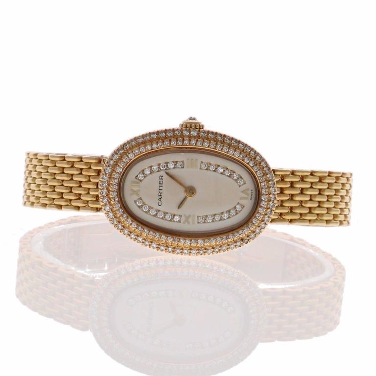 Cartier Ladies Yellow Gold Diamonds Baignoire Grain De Riz Wristwatch 5