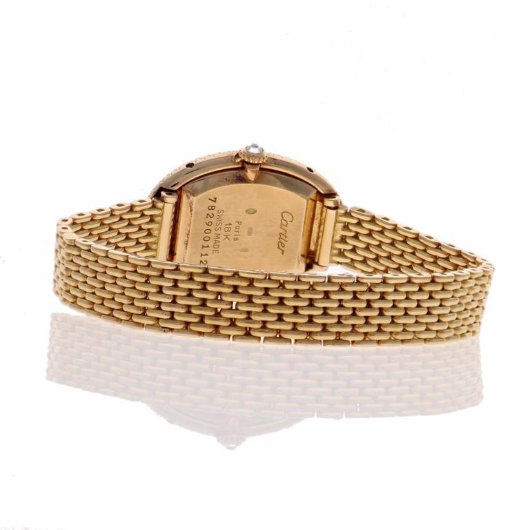 Cartier Ladies Yellow Gold Diamonds Baignoire Grain De Riz Wristwatch 6