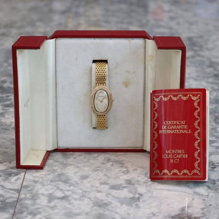 Cartier Ladies Yellow Gold Diamonds Baignoire Grain De Riz Mechanical Wristwatch 7