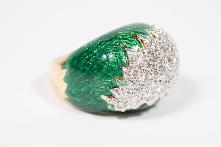 Mid-Century David Webb Enamel, Diamond, Gold and Platinum Ring In Excellent Condition For Sale In New York, NY