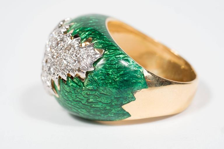 Women's Mid-Century David Webb Enamel, Diamond, Gold and Platinum Ring For Sale