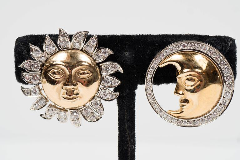 Demner Diamond Two-Color Gold Sun and Moon Earrings  3