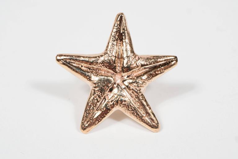Women's Seaman Schepps Mid-Century Modernist Gold Starfish Earrings For Sale